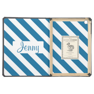 Personalized name blue stripe case for iPad air