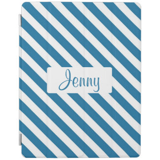 Personalized name blue stripe iPad cover