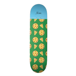 Personalized name blue stripe green pizzas skate boards