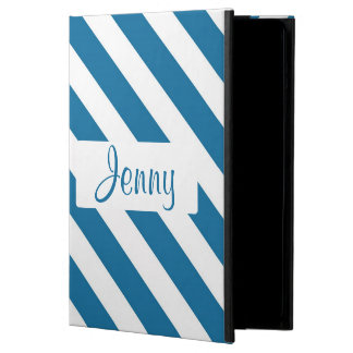 Personalized name blue stripe iPad air cases
