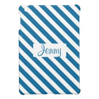 Personalized name blue stripe iPad mini cover