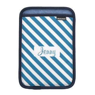 Personalized name blue stripe iPad mini sleeves