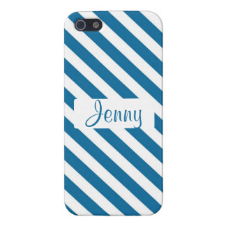 Personalized name blue stripe case for iPhone 5