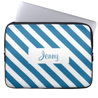 Personalized name blue stripe computer sleeves