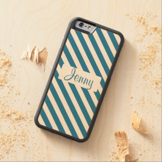 Personalized name blue stripe carved® maple iPhone 6 bumper