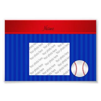 Personalized name blue stripes baseball art photo