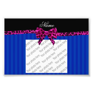 Personalized name blue stripes pink leopard bow photographic print