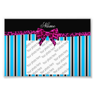 Personalized name blue stripes pink leopard bow photo