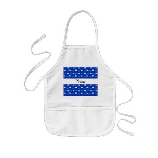 Personalized name blue train pattern apron