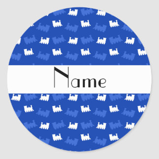 Personalized name blue train pattern round stickers