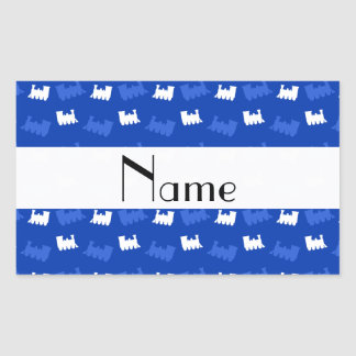 Personalized name blue train pattern rectangular stickers