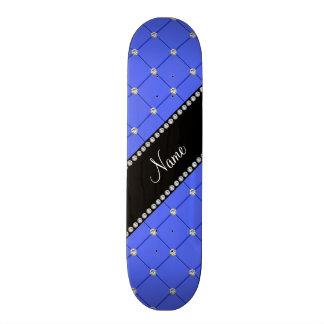 Personalized name blue tuft diamonds skateboard deck
