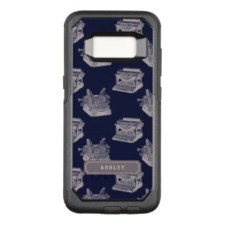 Personalized Name Blue Vintage Typewriter OtterBox Commuter Samsung Galaxy S8 Case