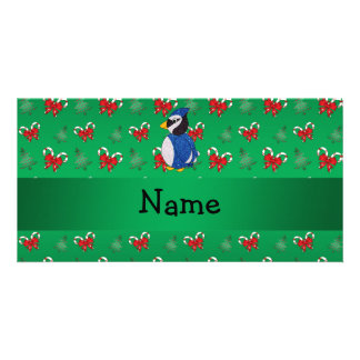 Personalized name bluejay green candy canes bows picture card