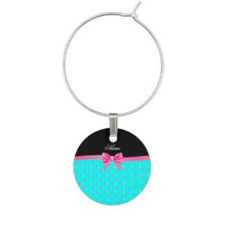 Personalized name bright aqua diamonds pink bow wine glass charms