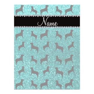 Personalized name bright aqua glitter dogs flyer design