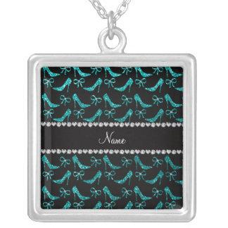 Personalized name bright aqua glitter high heels jewelry
