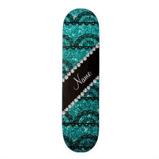 Personalized name bright aqua glitter lace skateboard deck