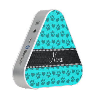 Personalized name bright aqua hearts and paw print speaker
