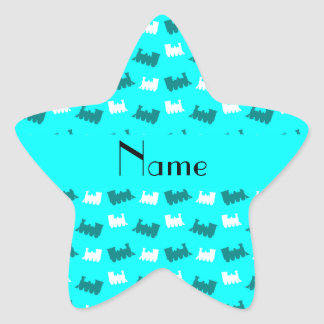 Personalized name bright aqua train pattern star sticker