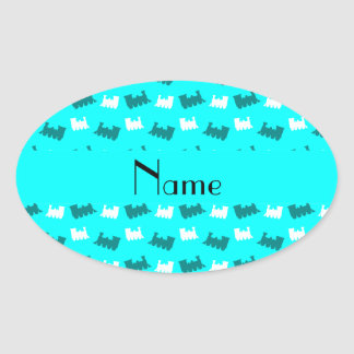 Personalized name bright aqua train pattern oval stickers
