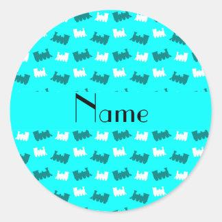 Personalized name bright aqua train pattern sticker