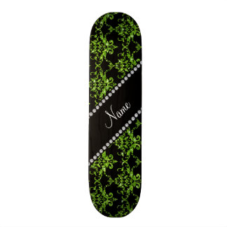 Personalized name bright green damask skateboard