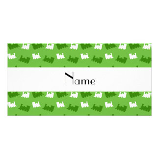 Personalized name bright green train pattern personalized photo card