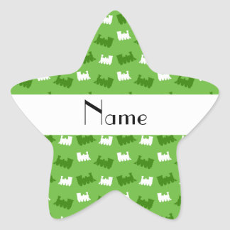 Personalized name bright green train pattern star stickers