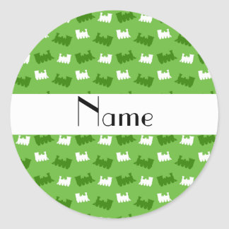 Personalized name bright green train pattern stickers