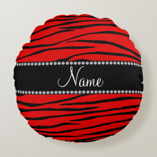 Personalized name bright red zebra stripes round cushion