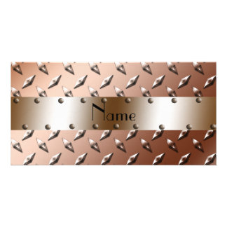 Personalized name brown diamond plate steel customised photo card