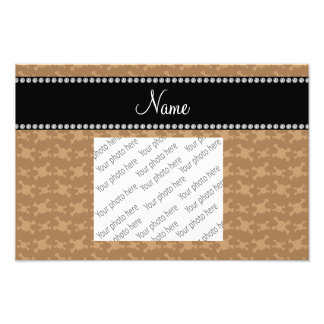 Personalized name brown skulls pattern photo