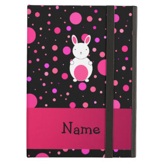 Personalized name bunny black pink polka dots iPad air cases