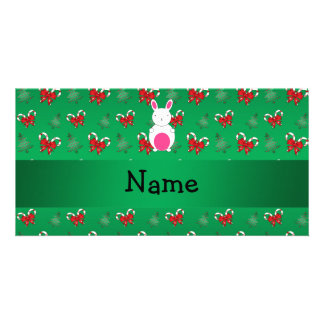Personalized name bunny green candy canes bows photo greeting card