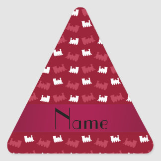 Personalized name burgundy red train pattern triangle stickers
