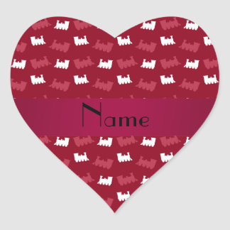 Personalized name burgundy red train pattern heart stickers