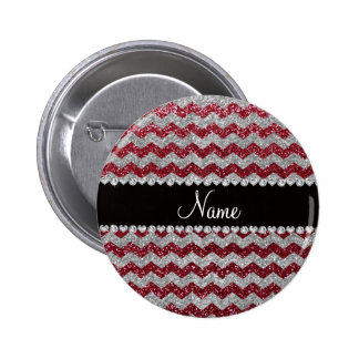 Personalized name burgundy silver glitter chevrons 6 cm round badge