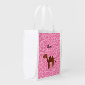 Personalized name camel light pink leopard grocery bags