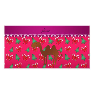 Personalized name camel magenta candy canes bows customized photo card