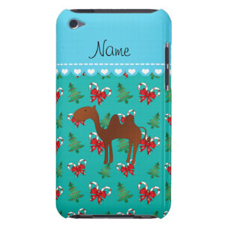 Personalized name camel turquoise candy canes bows barely there iPod case
