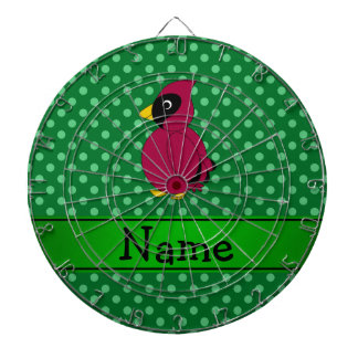 Personalized name cardinal green polka dots dartboard with darts