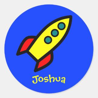 Personalized Name - Cartoon Rocket Ship Round Sticker