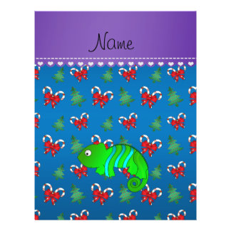 Personalized name chameleon blue candy canes bows 21.5 cm x 28 cm flyer