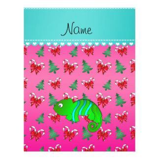 Personalized name chameleon pink candy canes bows 21.5 cm x 28 cm flyer