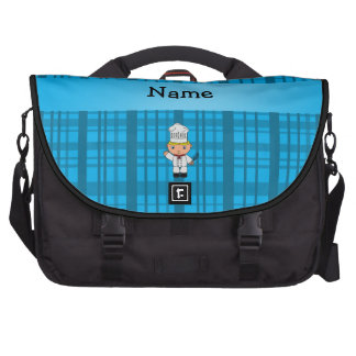 Personalized name chef blue plaid commuter bags