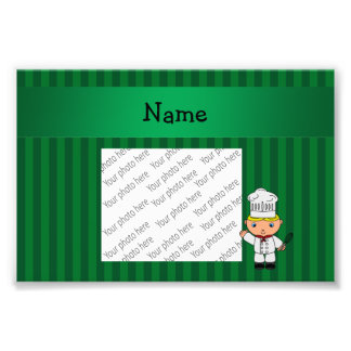 Personalized name chef green stripes art photo