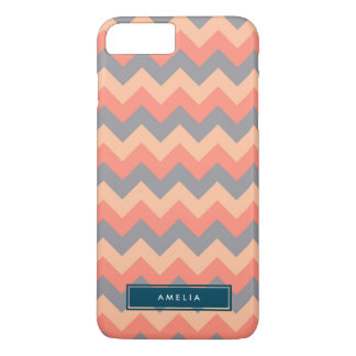 Personalized Name Chic Chevron Grey and Peach iPhone 7 Plus Case