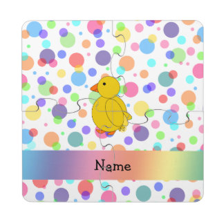 Personalized name chick rainbow polka dots puzzle coaster