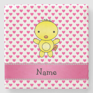 Personalized name chicken pink hearts polka dots stone beverage coaster